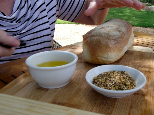 Apex bread, Pindarie olive oil and Kurianda dukkah